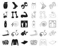 Фитнес и атрибуты черные, значки плана в установленном собрании для дизайна Сеть запаса символа вектора оборудования фитнеса иллюстрация штока