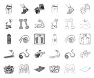 Фитнес и атрибуты mono, значки плана в установленном собрании для дизайна E иллюстрация штока
