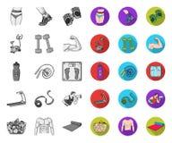 Фитнес и атрибуты mono, плоские значки в установленном собрании для дизайна E иллюстрация штока