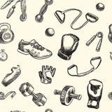 Фитнес и картина doodle спортзала нарисованная рукой вектор предпосылки безшовный Стоковые Изображения