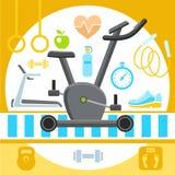 Фитнес, иллюстрация плоских значков Стоковые Фото