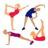 Фитнес представляет силуэты Стоковое Изображение RF