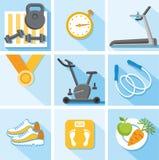 Фитнес, спортзал, здоровый покрашенный образ жизни, квартира, иллюстрация, значки Иллюстрация штока
