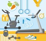 Фитнес, спортзал, покрашенная, плоская иллюстрация Бесплатная Иллюстрация