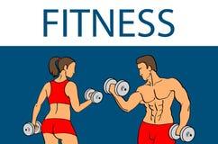 Фитнес с muscled силуэтами человека и женщины Человек и женщина держат гантели также вектор иллюстрации притяжки corel Стоковые Фотографии RF