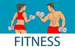 Фитнес с muscled силуэтами человека и женщины Человек и женщина держат гантели также вектор иллюстрации притяжки corel Стоковая Фотография RF