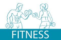 Фитнес с muscled силуэтами человека и женщины Человек и женщина держат гантели также вектор иллюстрации притяжки corel Стоковые Фото