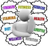 Фитнес формулирует план здоровья диеты тренировки персоны думая Стоковые Фотографии RF
