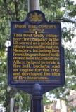 Филадельфия, 4-ое августа: Городской знак с пожарной командой соединения от Филадельфии в Пенсильвании стоковая фотография