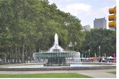 Филадельфия, 4-ое августа: Фонтан Ericsson в овале Eakins от Филадельфии в Пенсильвании Стоковое фото RF