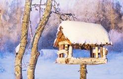 Фидер деревянной птицы в зиме Стоковое Изображение RF