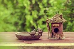 Фидер птицы на заднем плане сада лета Стоковая Фотография