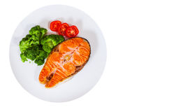 Филе Salmon стейка с брокколи на плите Взгляд сверху Стоковое Изображение RF