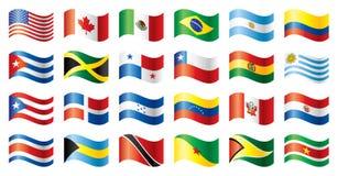 флаги америки установили волнистым Стоковое Изображение RF