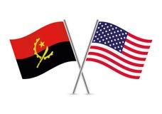Флаги Анголы и Америки также вектор иллюстрации притяжки corel Стоковое Изображение RF