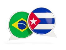 Флаги Бразилии и Кубы внутри пузырей болтовни бесплатная иллюстрация