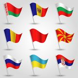 Флаги Восточная Европа вектора развевая на серебряном поляке - значке государств Беларуси, Болгарии, Молдавии, северной Македонии иллюстрация штока