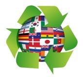 Флаги глобуса рециркулируют иллюстрацию Стоковое Изображение RF
