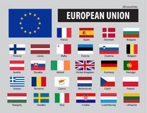 Флаги Европейского союза и членов Стоковая Фотография RF