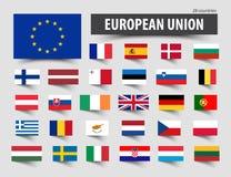 Флаги Европейского союза и членств Стоковые Фото