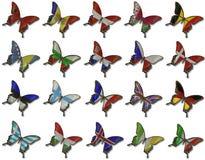 флаги европейца коллажа бабочек Стоковые Фотографии RF