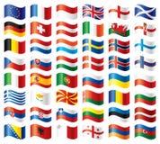 флаги европы установили волнистым Стоковые Изображения
