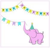 Флаги и слон рождества вектор наличных дег e eps8 наслоенный иллюстрацией Стоковая Фотография