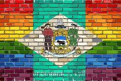 Флаги кирпичной стены Делавера и гомосексуалиста Стоковое Изображение
