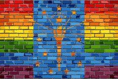 Флаги кирпичной стены Индианы и гомосексуалиста Стоковое Фото