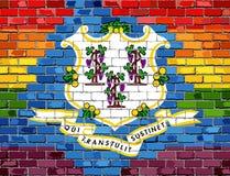 Флаги кирпичной стены Коннектикута и гомосексуалиста Стоковое Изображение RF