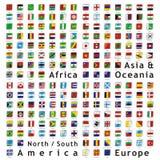 флаги кнопок vector мир сети Стоковое Изображение