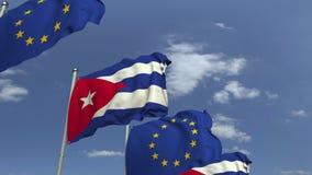 Флаги Кубы и Европейского союза против голубого неба, loopable 3D анимации акции видеоматериалы