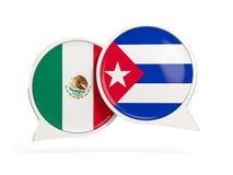 Флаги Мексики и Кубы внутри пузырей болтовни бесплатная иллюстрация