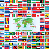 Флаги мира с картой Стоковые Фото