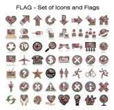 Флаги мира с комплектом иконы Стоковые Изображения RF