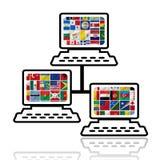 Флаги мира с комплектом иконы Стоковые Изображения