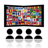 Флаги мира с комплектом иконы Стоковое фото RF