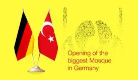 Флаги немца и Turkish Отверстие мечети бесплатная иллюстрация