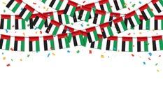 Флаги ОАЭ гирлянды с белым шаблоном предпосылки иллюстрация штока