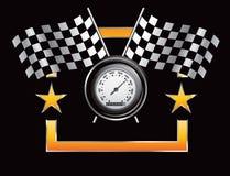 флаги обрамляют померанцовую участвуя в гонке звезду спидометра Стоковое фото RF