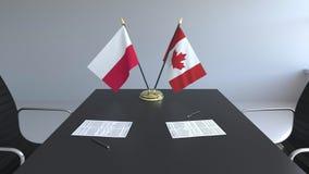 Флаги Польши и Канады и бумаги на таблице Переговоры и подписание международного соглашения Схематическое 3D иллюстрация вектора