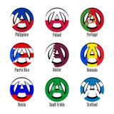Флаги различных стран мира в форме знака анархии иллюстрация штока