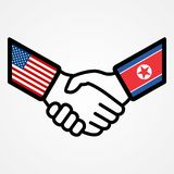 Флаги рукопожатия США и Северной Кореи плоские иллюстрация штока