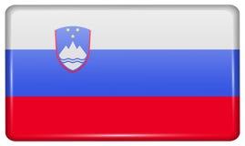 Флаги Словения в форме магнита на холодильнике с отражениями освещают Стоковые Изображения RF