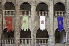 Флаги - старый замок в Румынии Стоковое фото RF