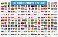 Флаги страна-членов Организации Объединенных Наций иллюстрация вектора