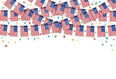 Флаги США гирлянды с белой предпосылкой иллюстрация вектора