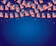 Флаги США гирлянды с голубой предпосылкой иллюстрация штока