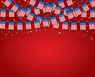 Флаги США гирлянды с красной предпосылкой иллюстрация вектора
