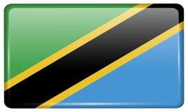 Флаги Танзания в форме магнита на холодильнике с отражениями освещают Стоковая Фотография RF